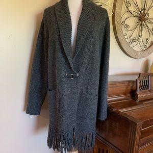 Sarah Spencer Size 2X Gray Cardigan Fringe Sweater